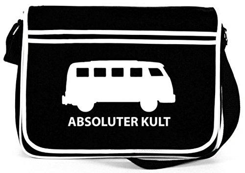 Shirtstreet24, ABSOLUTER KULT, Bus Retro Messenger Bag Kuriertasche Umhängetasche, Größe: onesize,Schwarz