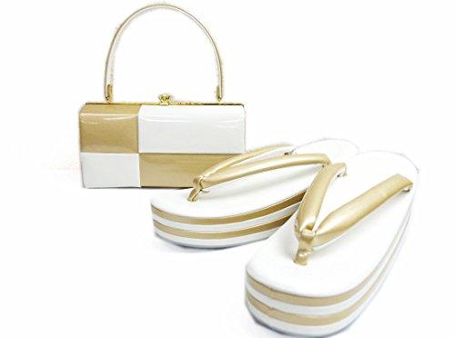 エナメル草履バッグセット横角型市松白金フリー・LL 日本製 振袖成人式&袴・着物に (LL)