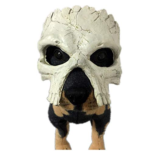 JNKDSGF HorrormaskeHund Maske Halloween Scary Schädel Masken Haustier Kostüme Horror Streich lustige Accessoires großenHund Schal