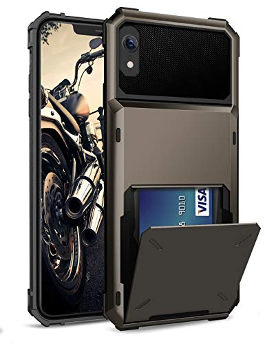 ELOVEN Case for iPhone XR Case Wallet with Card Holder Card Slot Hidden Credit Card ID Cover Shock Absorption Heavy Duty Drop Protection Rugged Bumper Protective Cover for Apple iPhone XR, Gun Metal