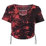 T-Shirt Mujeres de Verano gótico Punk Manga Corta Camiseta Contraste Color Tinte Tinte impresión Top Top de Metal Cadena Lateral con cordón Delgado Delgado Manga Corta (Color : Red, Size : L)