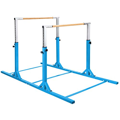 GOFLAME Double Horizontal Bars, Gymnastics Parallel Bars with Adjustable Height and Width, Junior Training Gym Bar for Kids, Ideal for Indoor Outdoor Use (Blue)