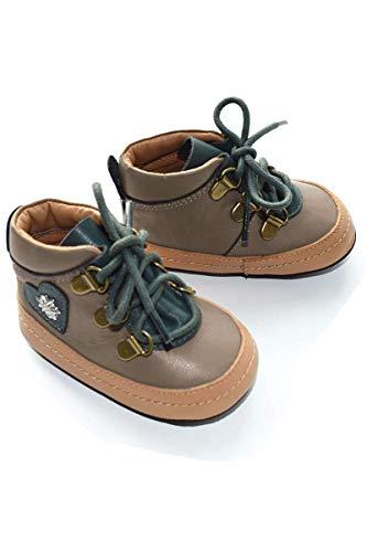 Mogo Baby - Jungen Baby Trachten Schuhe mit Herz und Edelweiß braun, GRAU, Gr. 16 (0-3 Monate)