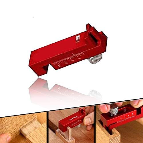 Medidor de espacio de carpintería con escala precisa Herramienta de marcado de regla de diente de sierra con alimentador de medición Operación flexible - Regla de espiga de madera Regla dentada,T2