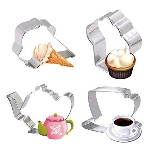 Aeromdale 4 PieTea Party Ausstecher Set-Teekanne Teetasse Cupcake Eis Edelstahl Keks Kuchen Fondant Pfannkuchen Ausstecher Ausstecher