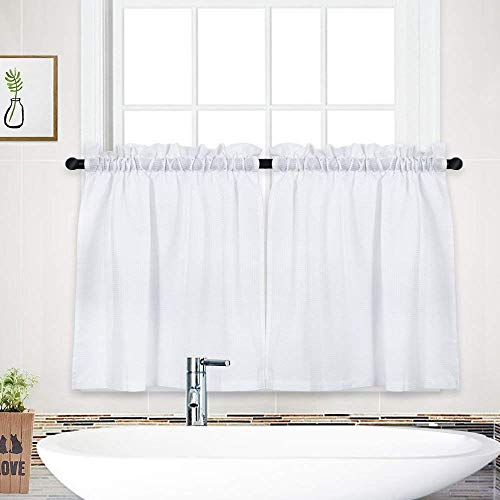 Tier Curtains, Waffle Weave Textured Short Curtain for...