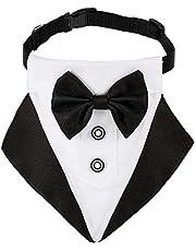 Bandana de Esmoquin Formal de Perro Bandana de Boda de Perros Collar de Perro con Diseños de Pajarita y Corbata Collar Negro Ajustable Pajarita de Esmoquin Formal de Perro (Negro)