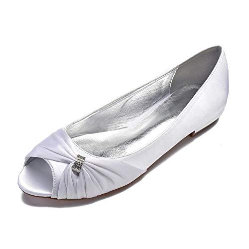 GGBLCS Zapatos planos de novia para mujer, bailarinas de satén, con estrás,...