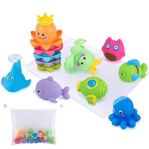 Glonova Bad Spielzeug mit Organizer, 13 Stück Wasserspielzeug für Kinder Stapelbechern und Spritz-Badespielzeug für Badewanne, Strand