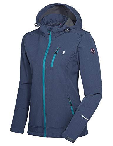 Little Donkey Andy Chaqueta de esquí Softshell para mujer con capucha extraíble, forro polar y repelente al agua, color azul jaspeado talla XS