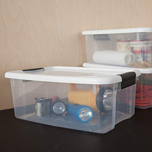 Sterilite 19849806 18 Quart/17 Liter Ultra Latch Box Clear with a White Lid and Black Latches 6Pack