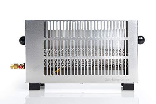 Regelbare 1,7 kW Edelstahl Zeltheizung / Mini Gasheizung mit Gasschlauch , Druckminderer (Angler Heizung, Campingheizung, Outdoorheizung, Outdoor, Camping, Zelt)