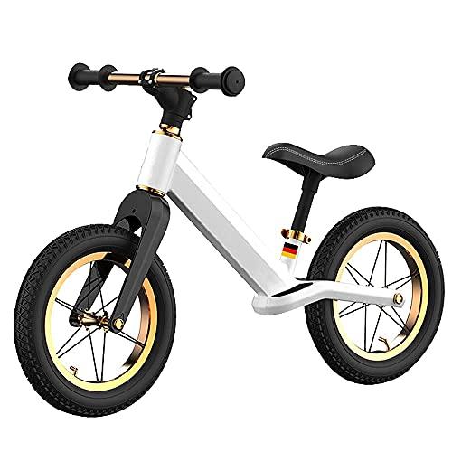 Gymqian Niño Corriendo Bicicleta 12 Pulgadas Balance Bicicleta Deporte Niños Bicicleta Entrenamiento Ligero Bicicleta Niño Bicicleta de Entrenamiento para Niños para Niños a 1,5-6 Años,Blanco