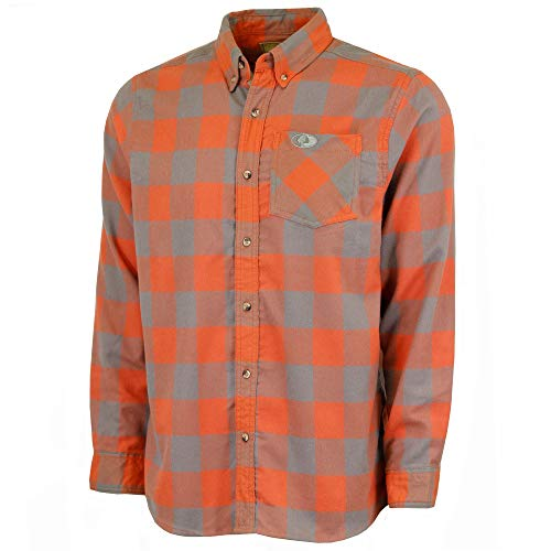 Mossy Oak Flannel Shirt for Men, Buffalo Plaid Long Sleeve Mens Flannel Shirts, Soft Flannels for men, a Traditional Look with New Age Comfort, Orange Buffalo Plaid, Large