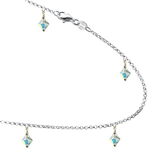JOSCO Clear AB Colored Crystals with .925 Sterling Silver Link Anklet, Bracelet. 7,8,9,10,11,12,13 (12 Inches)