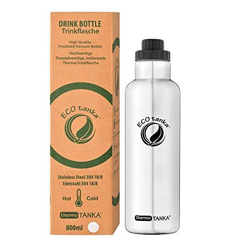 ECOtanka thermoTANKA 0,35 - 2L doppelwandige Edelstahl Isolier-Trinkflasche BPA frei inkl. Ersatzdichtungs-Service - auslaufsicher, einfache Reinigung, anti-Bakteriell, langlebig