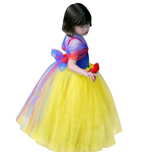 IBAKOM Disfraz de princesa de Blancanieves para nios, vestido largo, hadas, reina, cosplay, Halloween, Navidad Diseo 1 3-4 Aos