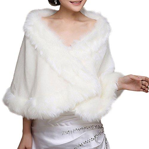 Insun Damen Brautzusatz Elfenbein Kunstpelz Winter Cape Umhang Braut Hochzeit Schal