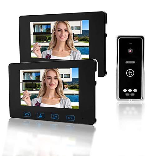 Videocamera campanello senza fili, videocitofono da 7 pollici senza fili per videocitofono campanello Supporto visione notturna, sistema di ingresso citofono audio bidirezionale (Nero)