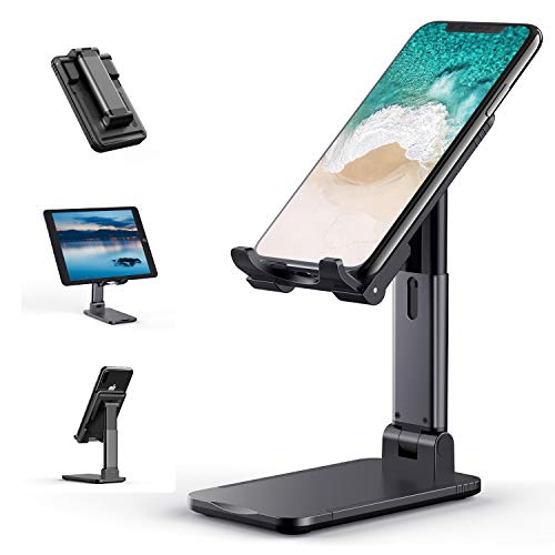 Cell Phone Stand, Tekpluze Angle Height Adjustable Cell Phone Stand for Desk, Thick Case Friendly...