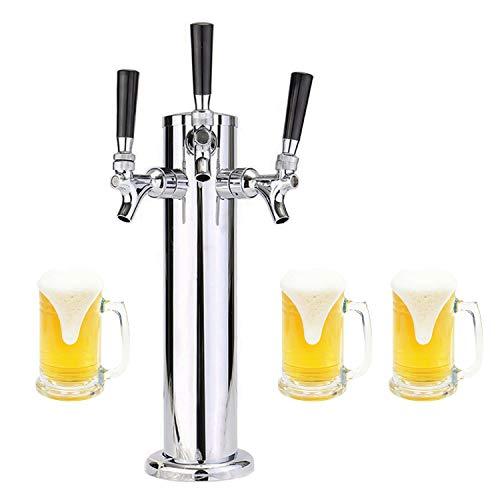 "LoveDeal Stainless Steel 3 Tap Draft Beer Tower, Beer Kegerator Tower Dispenser Kit with Triple faucet, Hose, Keg Wrench - 3"" Diameter"