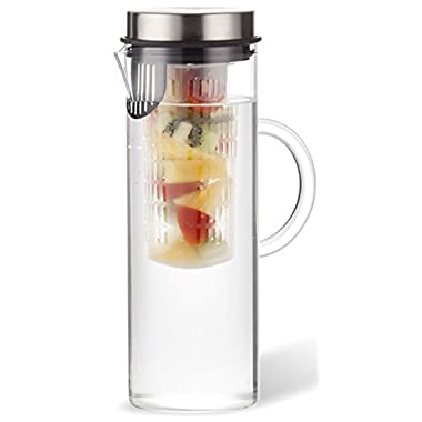 Fruit Infusion Water Pitcher | Strong Borosilicate Glass Infuser Carafe | Make Fruit Flavored Water | Loose Leaf Herb & Iced Tea Infusion Jug | 44 Oz (1.2 Liter)