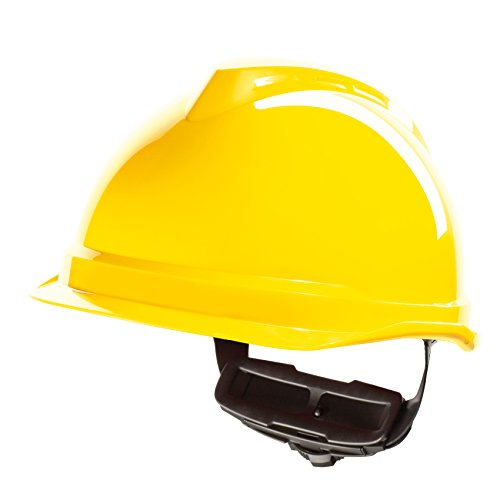 Casco de Protección MSA V-Gard 520 con Ajuste por Trinquete FasTrack - Casco de Trabajo Casco de Seguridad Casco de Construcción, Color: Amarillo