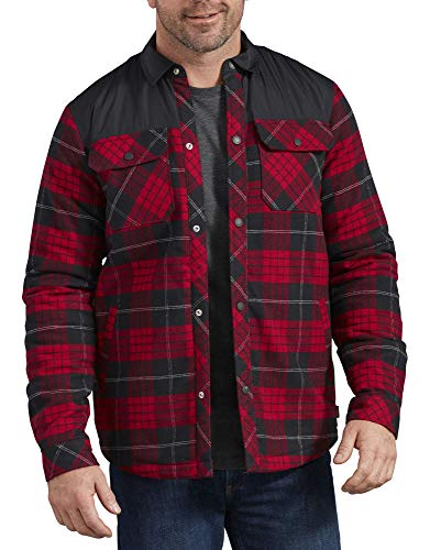 Dickies Men's Flannel Shirt Jacket, English Red/Black Plaid, 2X-Large