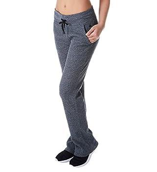 Calvin Klein Women s Premium Performance Thermal Wide Leg Pant Black Heather Large