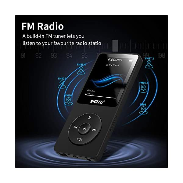 Mp3 Player, RUIZU X02 Ultra Slim Music Player FM Radio, Voice Recorder, Video Play, Text Reading, 80 Hours Playback Expandable Up to 128 GB 6