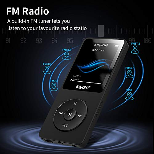 Mp3 Player, RUIZU X02 Ultra Slim Music Player with FM Radio, Voice Recorder, Video Play, Text Reading, 80 Hours Playback and Expandable Up to 128 GB (Black)