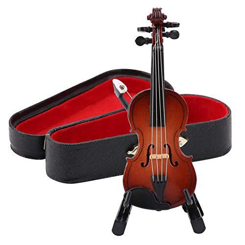 8cm Höhe Mini Miniatur Violine Holzinstrument Modell mit Ständer, Bogen und Geschenkbox Mini Musikinstrument Miniatur Puppenhaus Modell Hauptdekoration