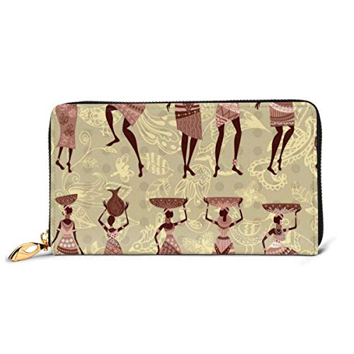 African Tribe Women Dance Large Capacity Zip Around Slim Billfold PU Leather Wallet Card Holders for Men Women Boy Girl