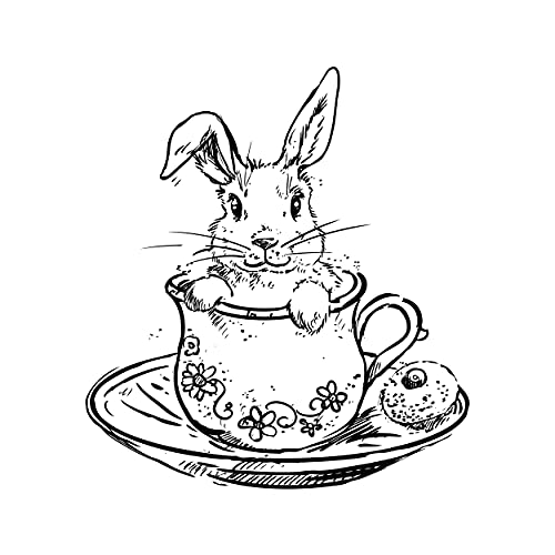 Sello de conejo en la taza – Sello de madera para scrapbooking tarjetas de Pascua