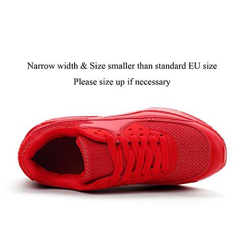 Mujer Zapatillas de Deporte con Amortiguación de Aire Zapatos con Cordones Transpirables para Caminar Correr Rojo EU 41