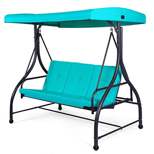 Tangkula 3 Seats Converting Patio Swing, Outdoor Porch Garden Canopy Swing with Comfortable Cushion Seats & Adjustable Tilt Canopy, Heavy Duty Hammock 3 Persons Porch Swing (Turquoise)