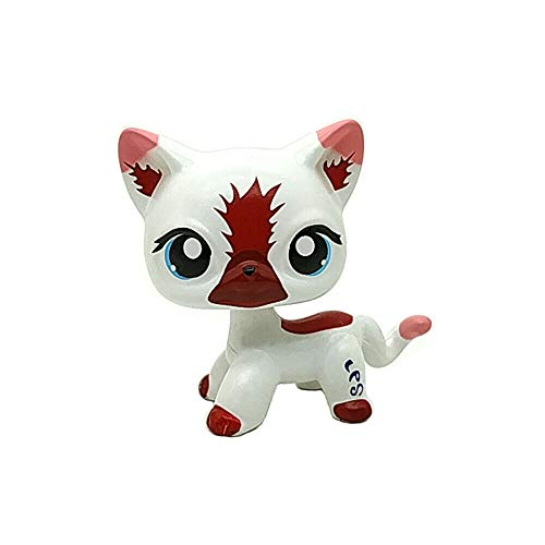Littlest Pet Shop Custom OOAK LPS White Brown German Shepherd Cat Blue Eyes Toys