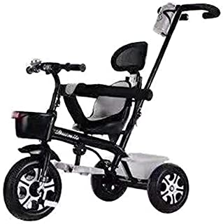 Ntech Black Toys Kids tricycle With push Bar Ride On Tricycle Bike Black