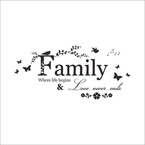 Familie, wo das Leben beginnt Zitat Wandaufkleber Blume Vinyl Home Decoration Wandaufkleber Home Decor Wandaufkleber