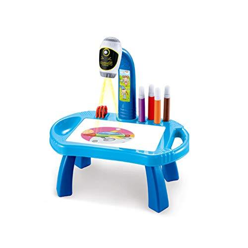 Mesa de Dibujo para Niños Mesa de Estudio para Niños Juego de Dibujo Y Dibujo con Luces Y Música Lámpara de Proyección Eléctrica Multifuncional para Niños Regalos de Cumpleaños