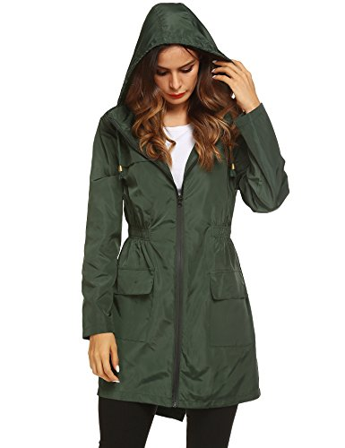 LOMON Womens Lightweight Sun Protect Hooded Quick Dry Windproof Trench Rain Jacket Amy Green L