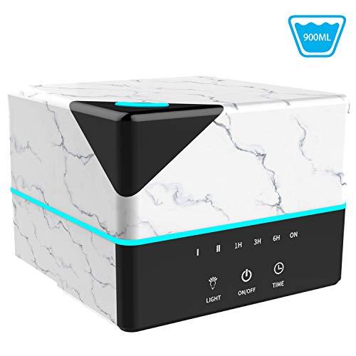 Humidificador ultrasónico de grano de mármol Tenswall de 900 ml, luz LED de 7 colores, 4 temporizadores, purificador de aire con 2 opciones de niebla, tiempo de trabajo de 21 horas