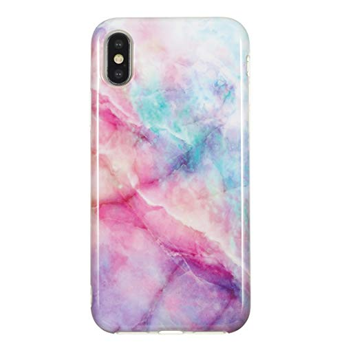 Xyamzhnn HNZZ Caja del teléfono, Caso Protector de TPU for el iPhone y X XS (Color : Pink Green Marble)