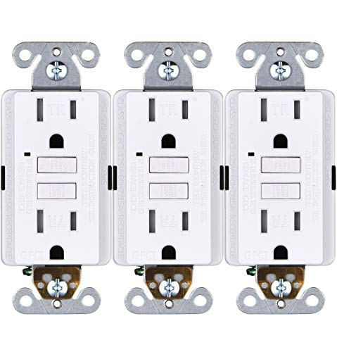 Faith [3-Pack] 15A GFCI Outlets Slim, Tamper-Resistant GFI Duplex Receptacles with LED Indicator, Self-Test Ground Fault Circuit Interrupter, ETL Listed, White, 3 Piece