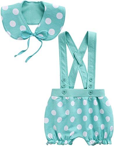 [Livraison gratuite] Vaenait pour bébé 0–24 mois porte-jarretelles Short Pantalon avec Scaf Lot de Dot - Vert - Large