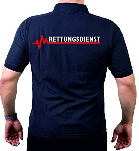 FEUER1 Poloshirt Navy, Rettungsdienst mit roter EKG-Linie L