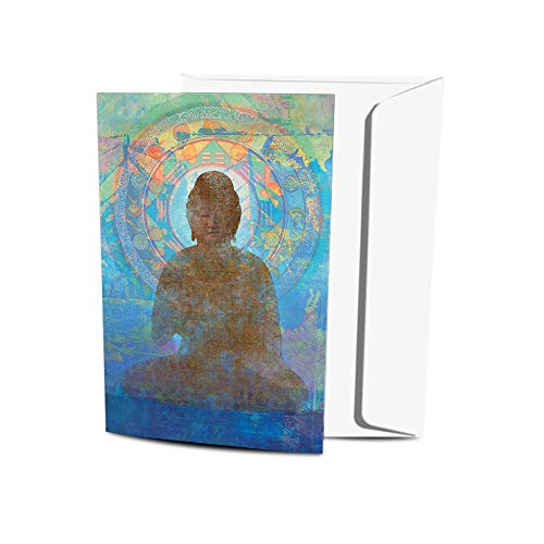 Tree-Free Greetings Eco-Friendly Buddha-Themed Notecard Set with Envelopes, Made in the USA with 100% Recycled Paper in a Solar Powered Facility, Blue Buddha, Pack of 12 (FS56949)