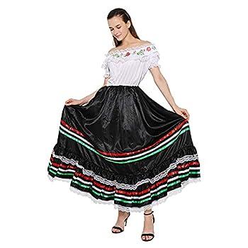 FantastCostumes Women Traditional Mexican Dress Lace Flower Senorita Costume Festival Party Spanish Dress Large