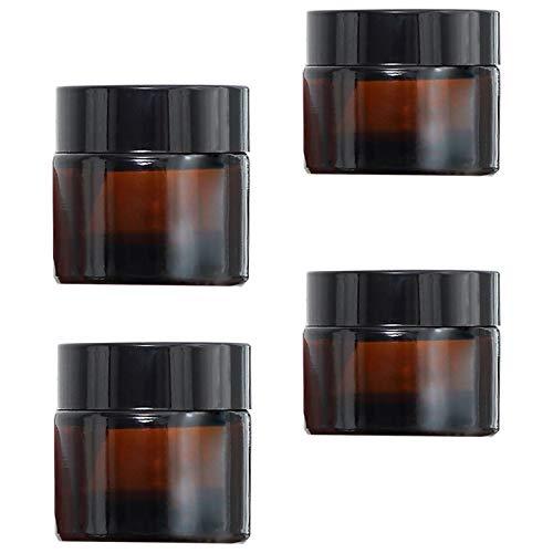 TUAKIMCE 4 Stück 20ml 30ml Amber Glas Cremedose Leer Leerdose klarer Tiegel Leerdose Leere Nachfüllbare Behälter Braunen Glasbehälter mit Deckel und Liner für Lotion, Creme, Kosmetik