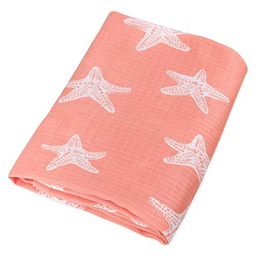 Organic Cotton Muslin Swaddle Blanket - Coral Pink Starfish Print